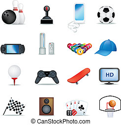 boys hobbies - set of detailed icons and illustrations of...
