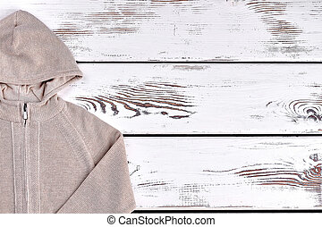 Boys hooded warm beige sweater.