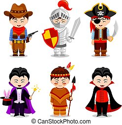 Boys in costumes on white background. Cowboy, vampire,...