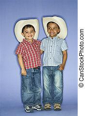 Boys in cowboy hats.