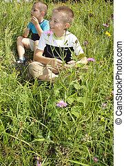 Boys in grass