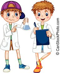 Boys in science gown writing and experimenting illustration