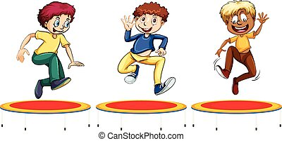 Boys jumping on the trampolines