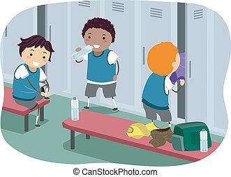 Boys Locker Room - Stickman Illustration Featuring Boys...