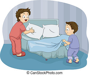 Boys Making Bed - Illustration of Two Little Boys Making...