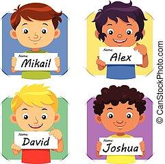 Boys holding their name tag.