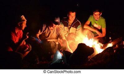Boys Night Near Campfire