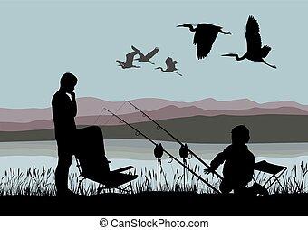 Boys on fish and herons