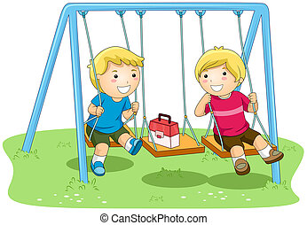 Boys on Swing in the Park with Clipping Path
