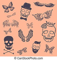 Boys patches collection. Vector tattoo of outline boys icons, such as crowned scull, death s-head, scull and bones, butterfly, birds and bat wings. Isolated on pink background.