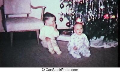 boys, playing, от, рождество, tree-1965