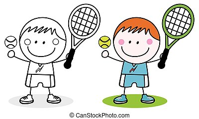 Boys playing badminton