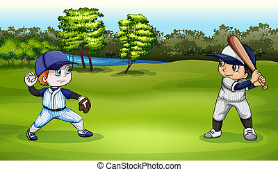 Boys playing baseball