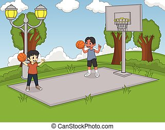 Boys playing basketball at the park