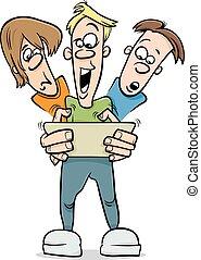 boys playing game cartoon illustration - Cartoon...