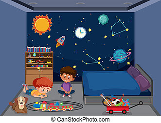 Boys playing in bedroom