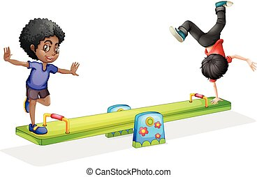Boys playing on seesaw