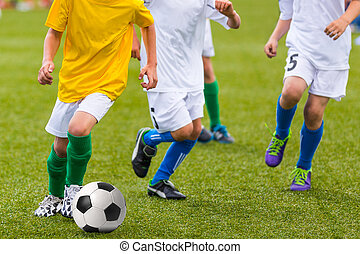Boys Playing Soccer Game