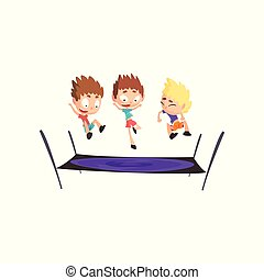 Boys playing trampoline, bouncing kids having fun on trampoline vector Illustration on a white background