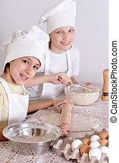 Boys preparing dinner