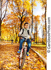 Boys ride in autumn park