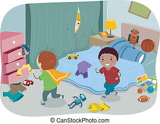 Boys Room - Illustration of a Couple of Boys Playing in a...