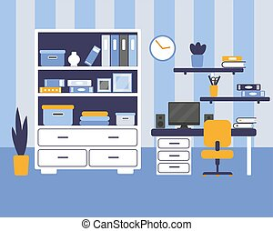 Boys room with furniture. Vector illustration.