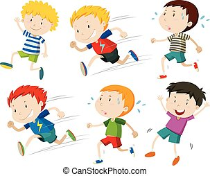 Boys running fast and slow illustration