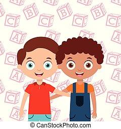 boys smiling hugging happy kids best friends