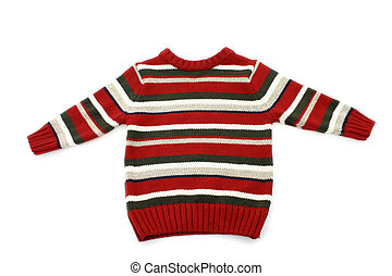 Boy's Sweater - Boy's striped sweater on white.