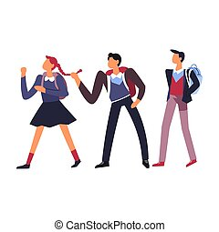 Boys teasing girl at school humiliation and bullying isolated icon