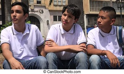 Boys Teen Friends Sitting