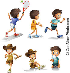 Boys with different activities - Illustration of the boys...