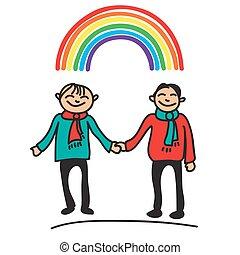 boys with rainbow