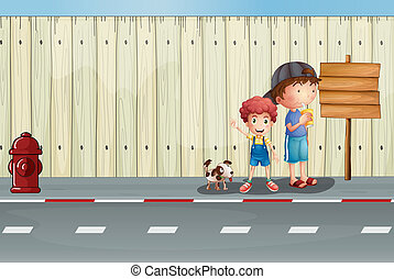 Boys with their pets in the street - Illustration of boys...