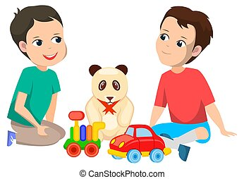 Boys with Toys Sitting on Floor, Cars and Bear