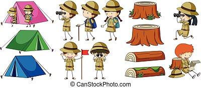 Boyscouts and camping elements