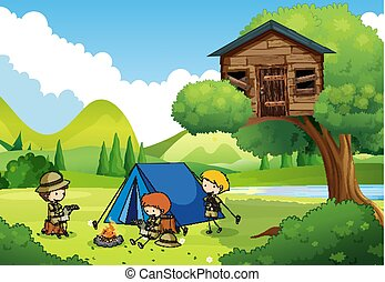 Boyscouts Camping In The Woods Illustration