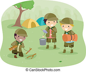 Boyscouts on Camping - Illustration of Little Boyscouts on...