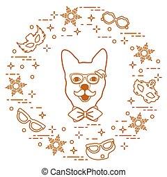 bozal, tie., carnaval, bigote, copos de nieve, máscaras, anteojos, perro, arco, disfraz, concept., festivo