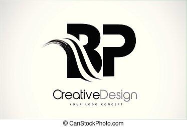 BP B P Creative Modern Black Letters Logo Design with Brush Swoosh