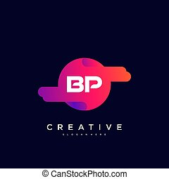 BP Initial Letter logo icon design template elements with wave colorful art