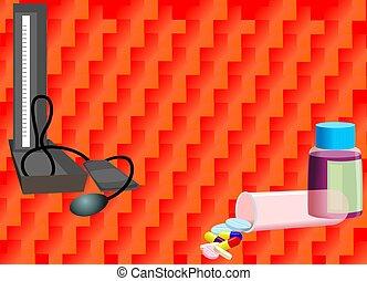 Illustration BP testing tools with medicine