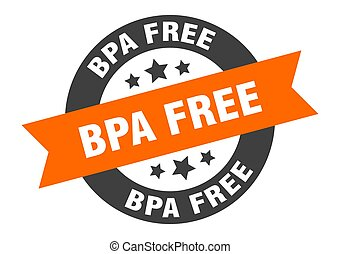 bpa free sign. round ribbon sticker. isolated tag