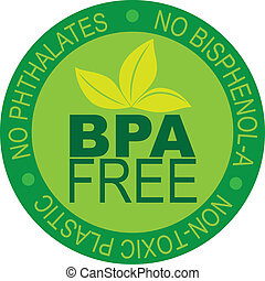 bpa, libre, ilustración, etiqueta