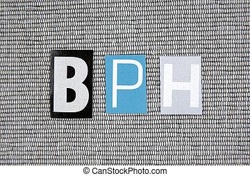 BPH (Benign Prostatic Hyperplasia) acronym on grey...