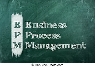 bpm - BPM business process management  on a green chalkboard