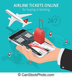 brädfodring, worldwide., flights, lottsedlar, 3, vektor, resa, uppköp, isometric, internation, affär, app, direkt, lägenhet, tickets., illustration., flyglinje, eller, flights., order., online., passera, reservation