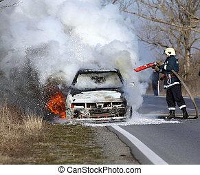 brännande, bil