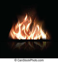 brännande, eld, illustration, vektor, svart fond